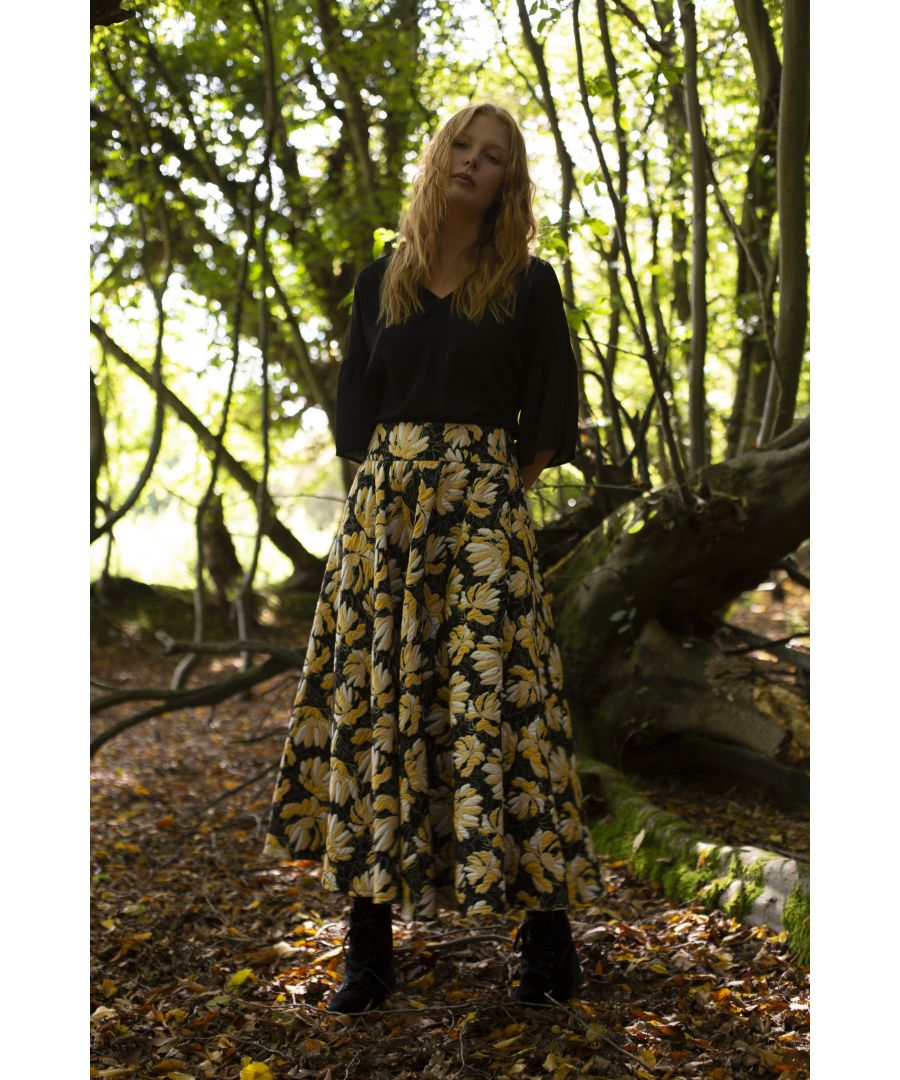 Image for Dior Floral Midi Swing Skirt in Black and Gold