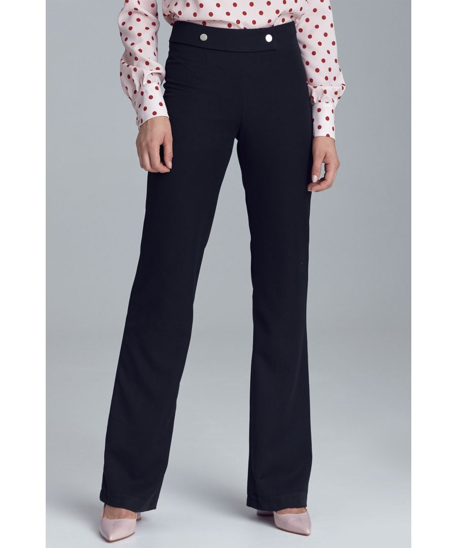 Image for Trousers in palazzo style - black