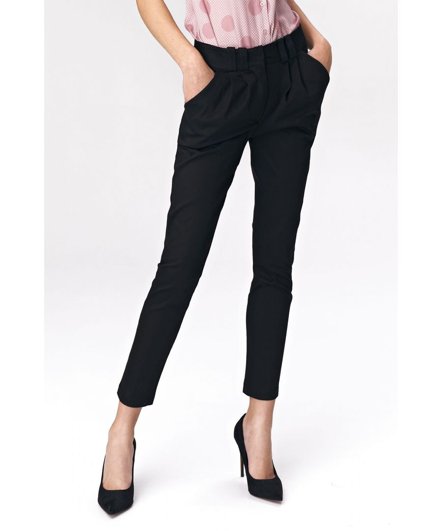 Image for Fitted womens trousers - black
