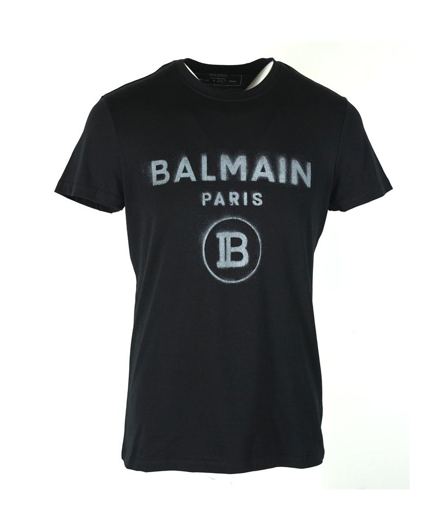 Image for Balmain Black T-Shirt Silver Spray Effect Logo