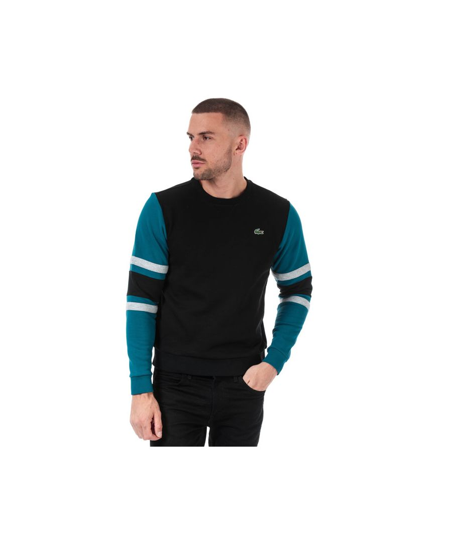 Image for Men's Lacoste Striped Sleeves Fleece Sweatshirt in Black