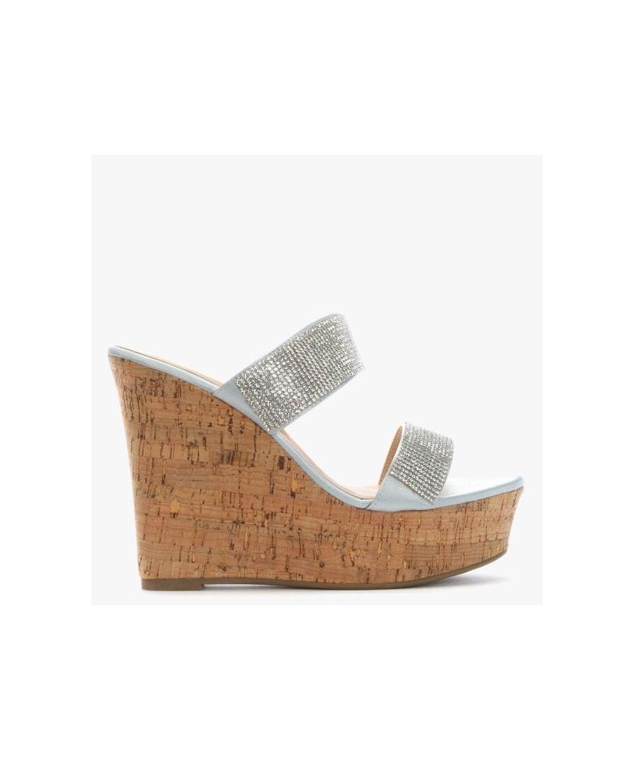 Image for DF By Daniel Shayshay Metallic Crystal Wedge Sandals