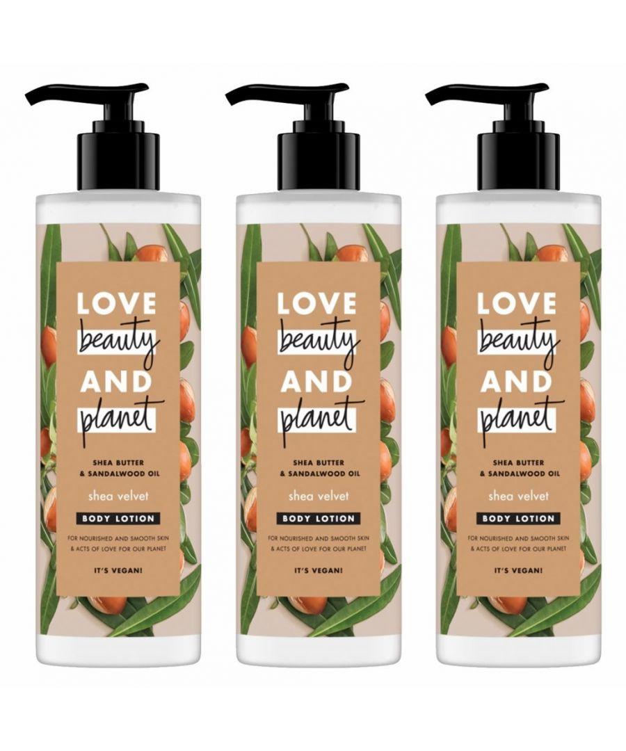 Image for Love Beauty & Planet Shea Velvet Shea Butter & Sandalwood Oil Body Lotion 400ml (Pack of 3)