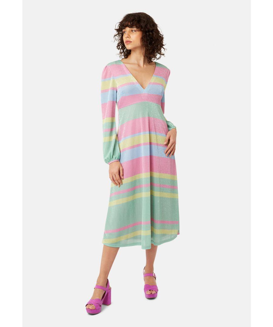 Image for Mama Mia Pastel Stripe Midi Dress in Multicoloured