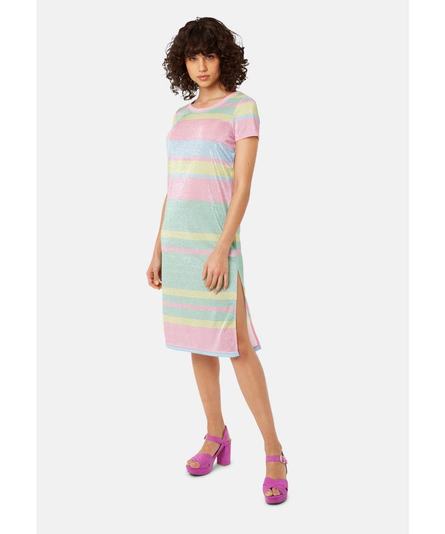 Image for T-shirt Short Sleeved Stripe Midi Dress in Multicoloured