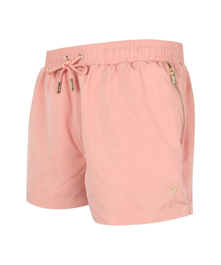 Image for Signature Harbor Pink Swim Shorts with Gold Detailing