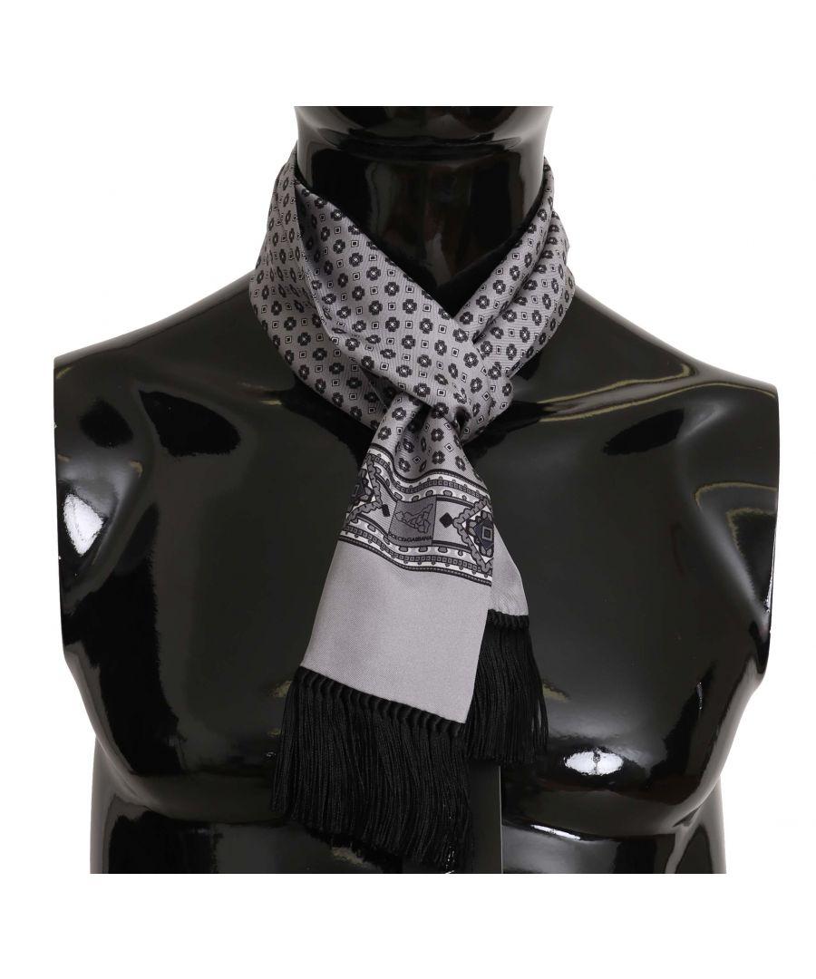 Image for Dolce & Gabbana Silver Baroque Tassel Mens Silk  Scarf