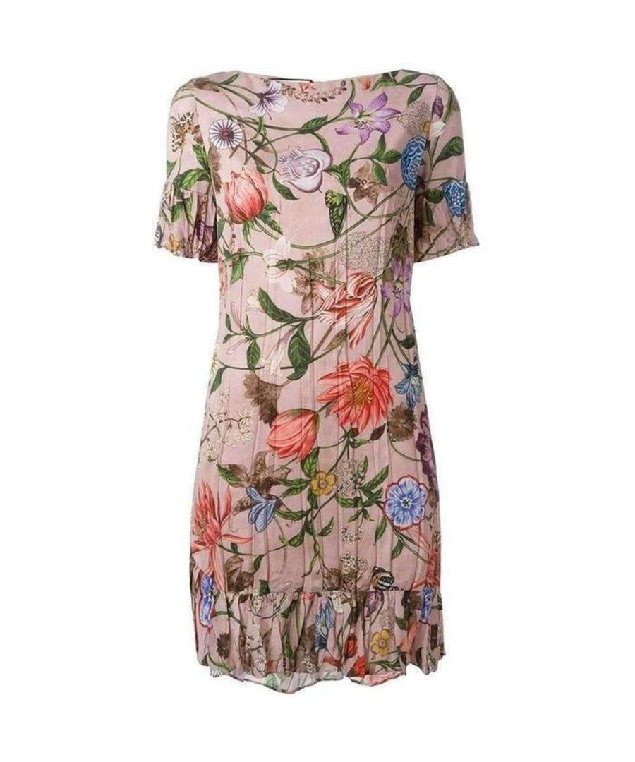Image for Gucci Silk Blooms Floral Print Ruffled Pink Dress