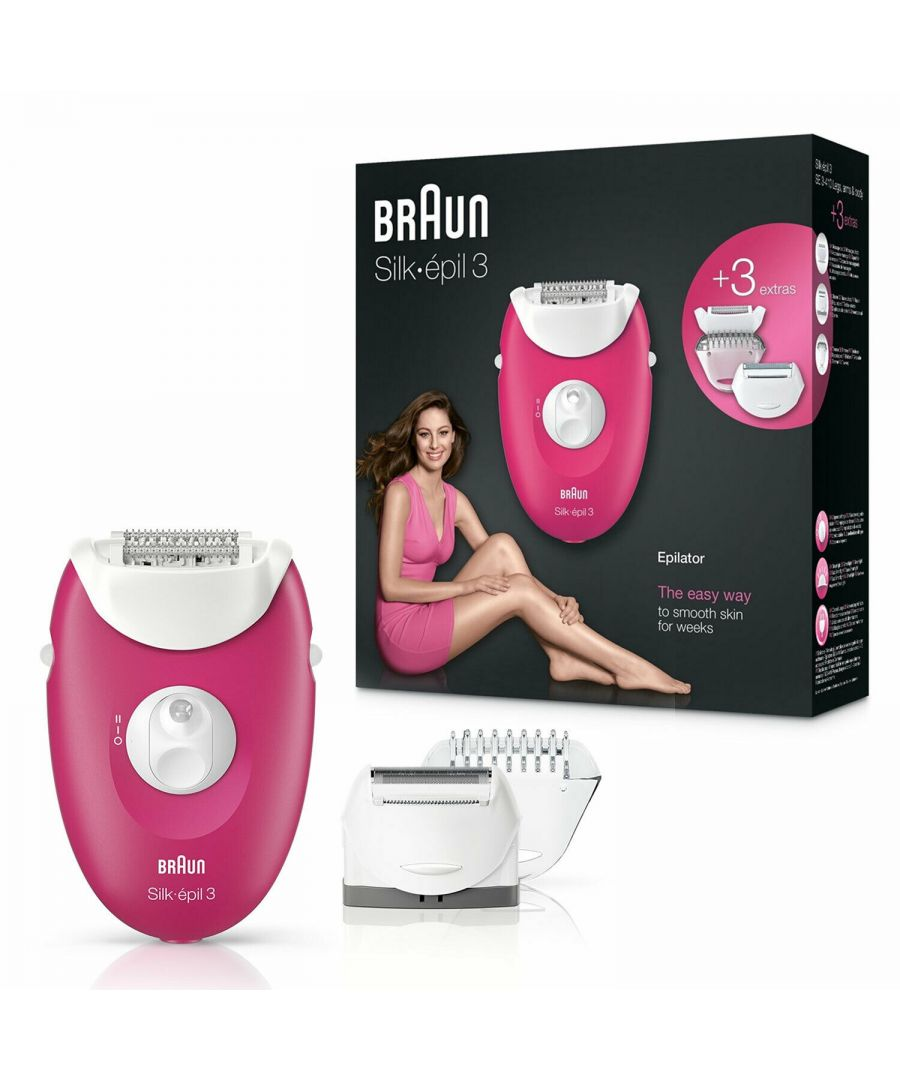 Image for Braun Silk-épil 3 3-410 Raspberry Corded Epilator with 3 Extras (Raspberry Pink)