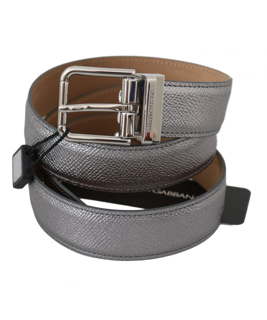 Image for Dolce & Gabbana Silver Leather Shiny Metal Buckle Belt