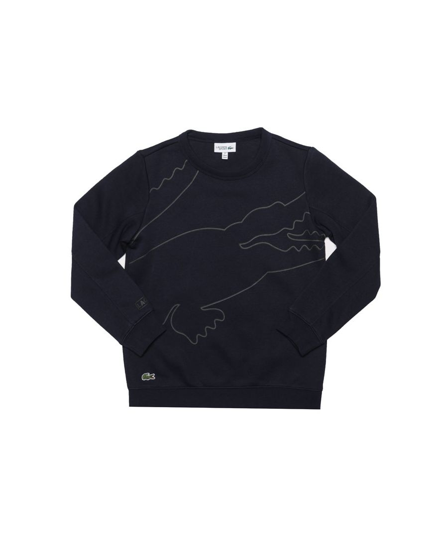 Image for Boy's Lacoste Junior Sport Logo Crew Sweatshirt in Blue