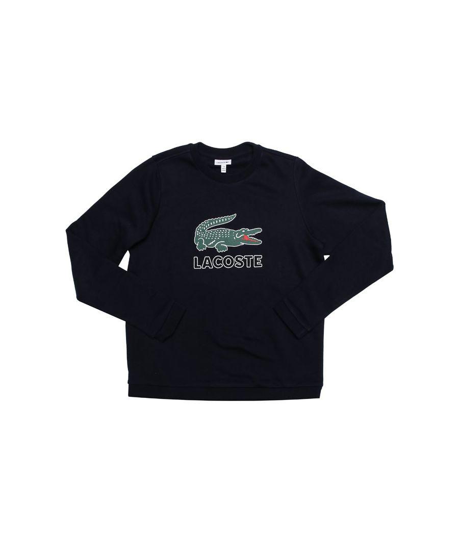 Image for Boy's Lacoste Junior Logo Crew Sweat in Navy
