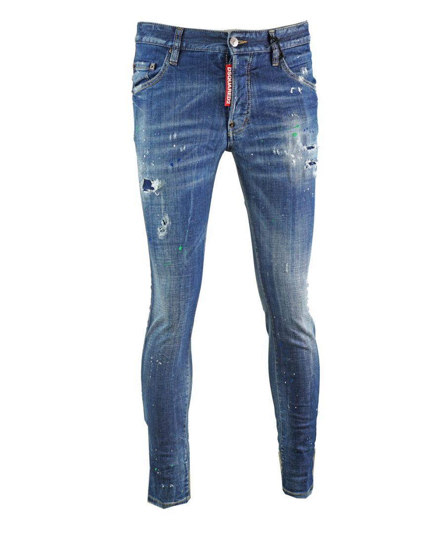 Image for Dsquared2 Skater Jean Spray Paint Effect Jeans