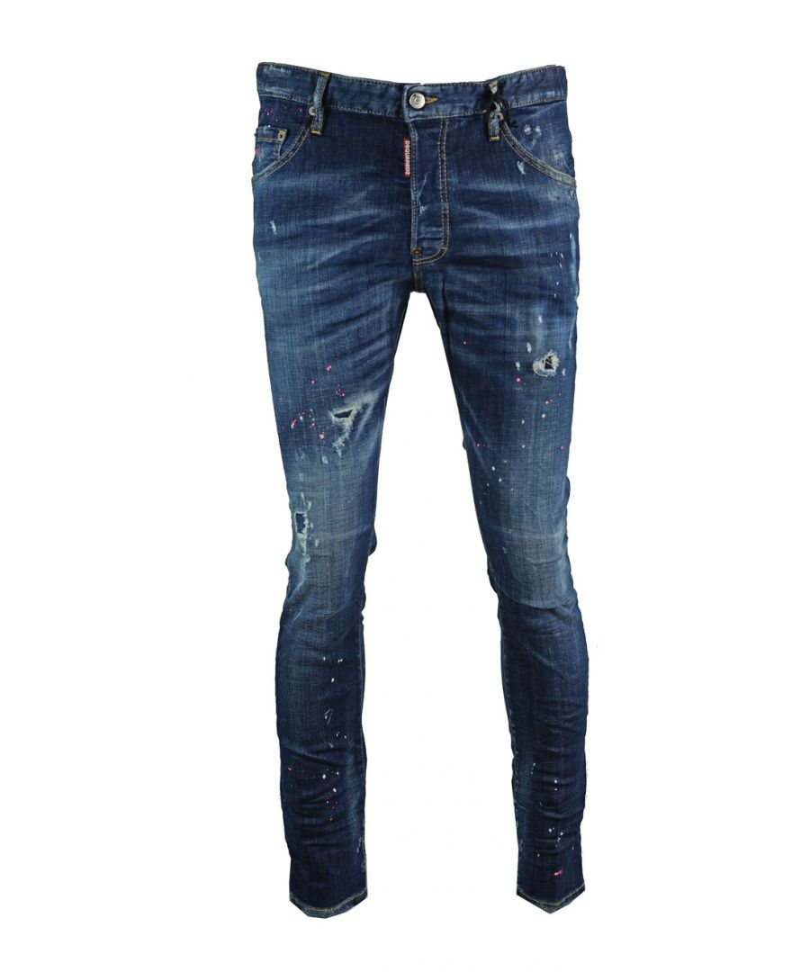 Image for Dsquared2 Skater Jean Distressed Paint Effect Jeans