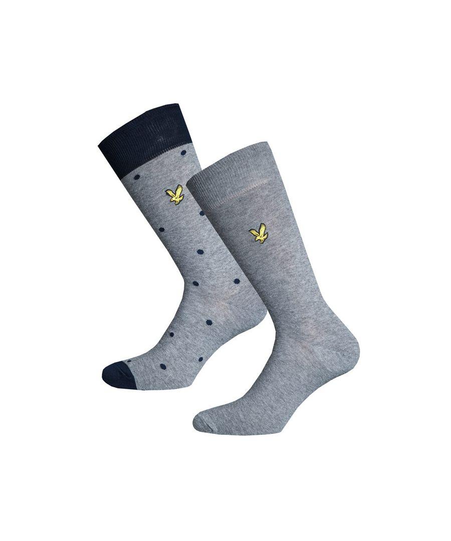 Image for Men's Lyle And Scott Kenny Polka Dot 2 Pack Socks in Grey Marl