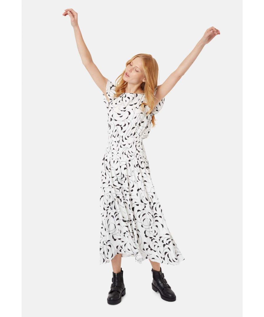 Image for Whispers Midi Short Sleeved Dress in White and Black
