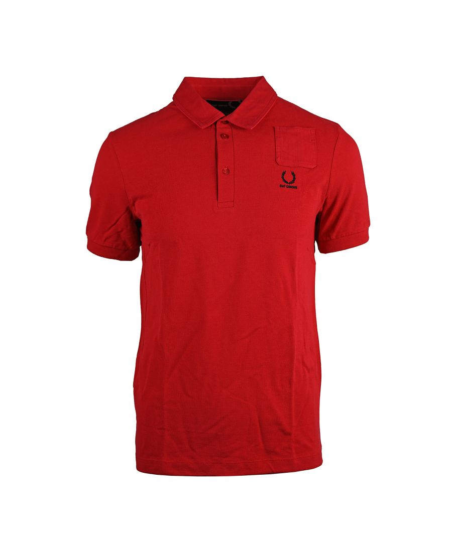Image for Fred perry SM1411 Denim Pocket Pique Polo Shirt 956 Red
