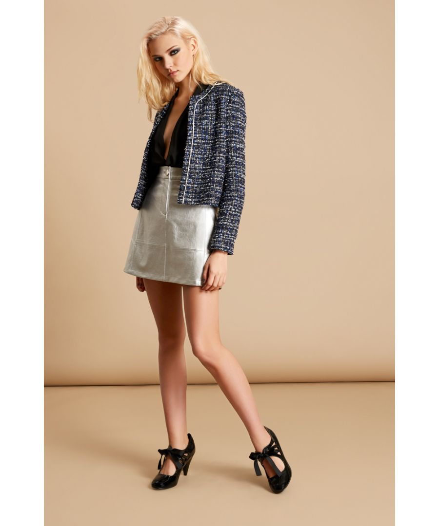 Image for Chanel Tweed Long Sleeve Jacket in Navy