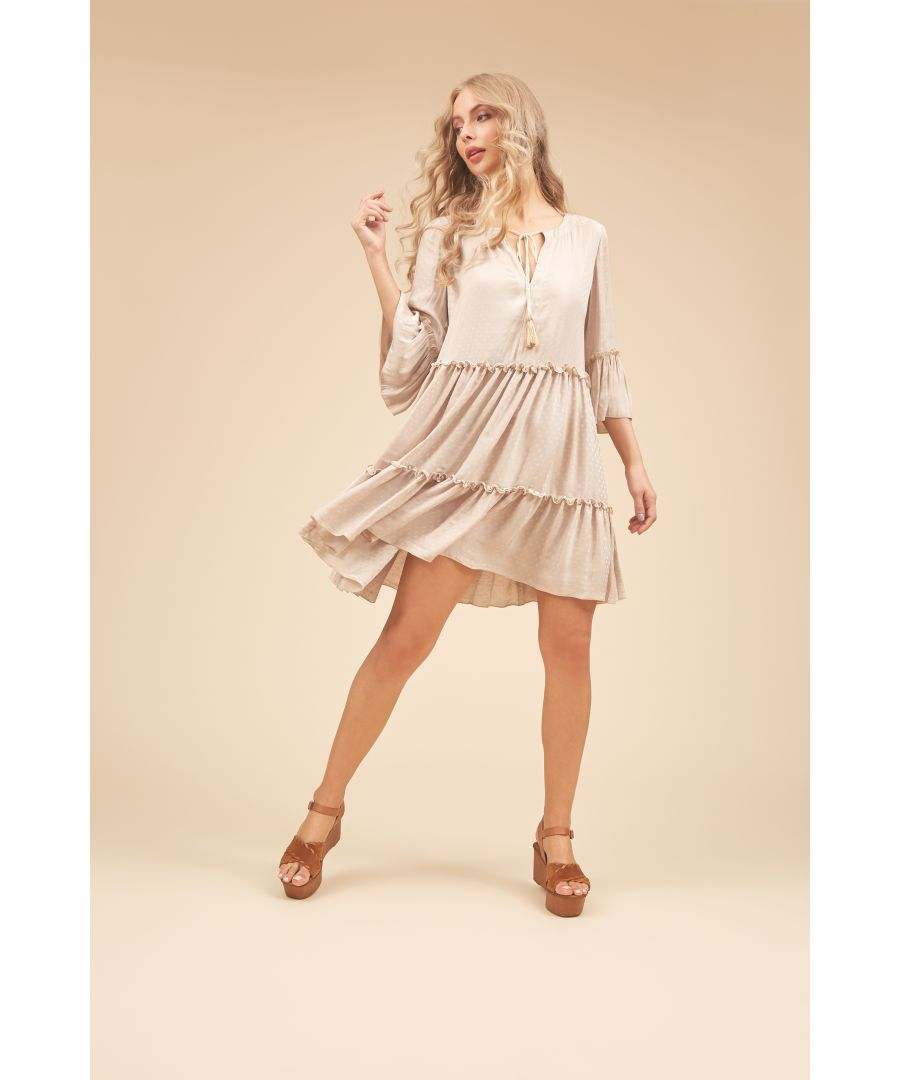 Image for Dew Boho Ruffle Mini Dress in Off White