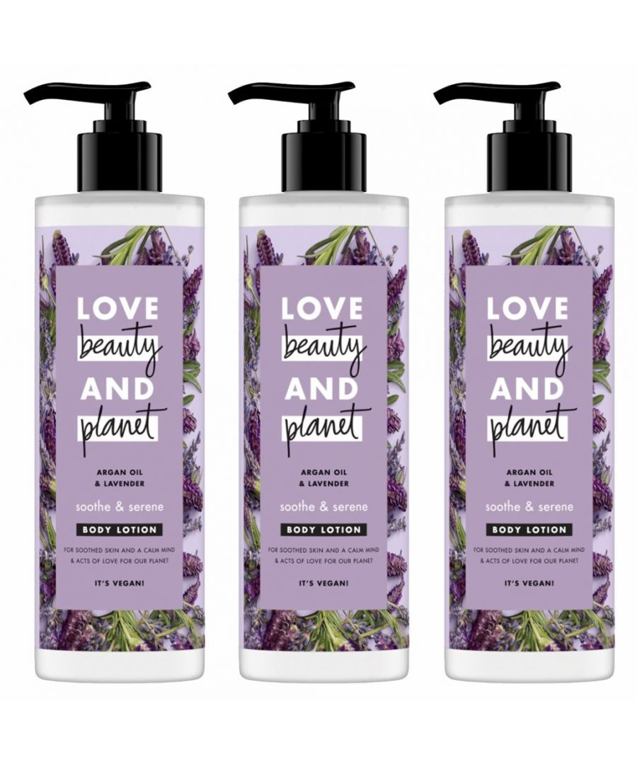 Image for Love Beauty & Planet Soothe and Serene Argan Oil & Lavender Body Lotion 400ml (Pack of 3)