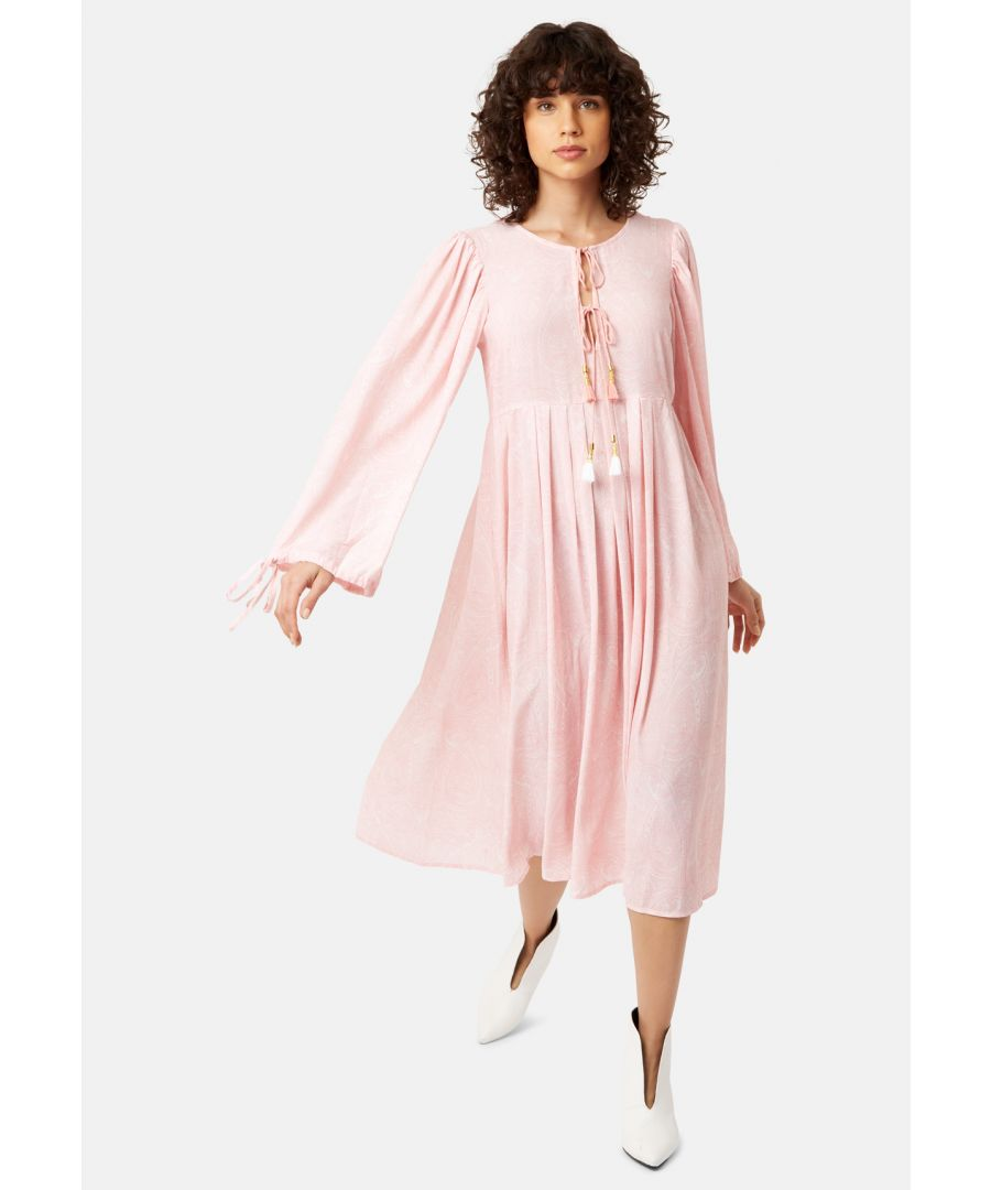 Image for Long Sleeved Boho Blues Maxi Dress in Pink