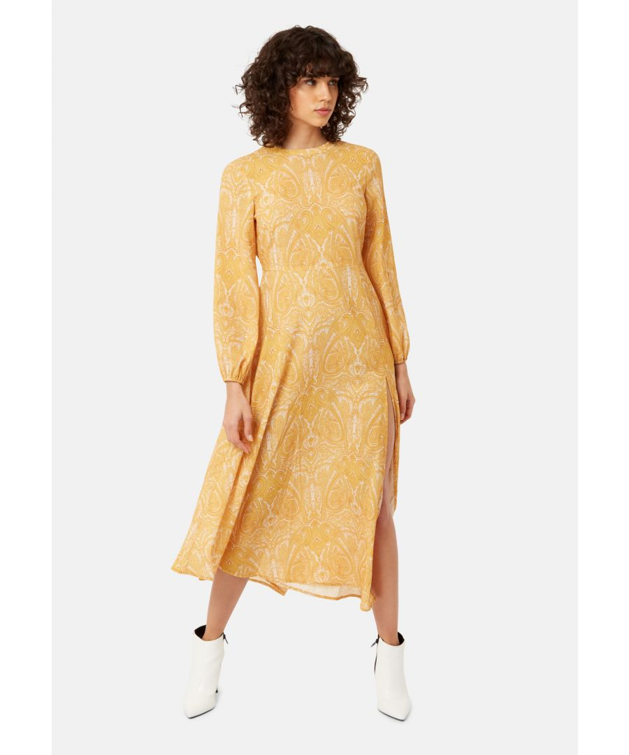 Image for Dalliance Backless Paisley Printed Dress in Mustard