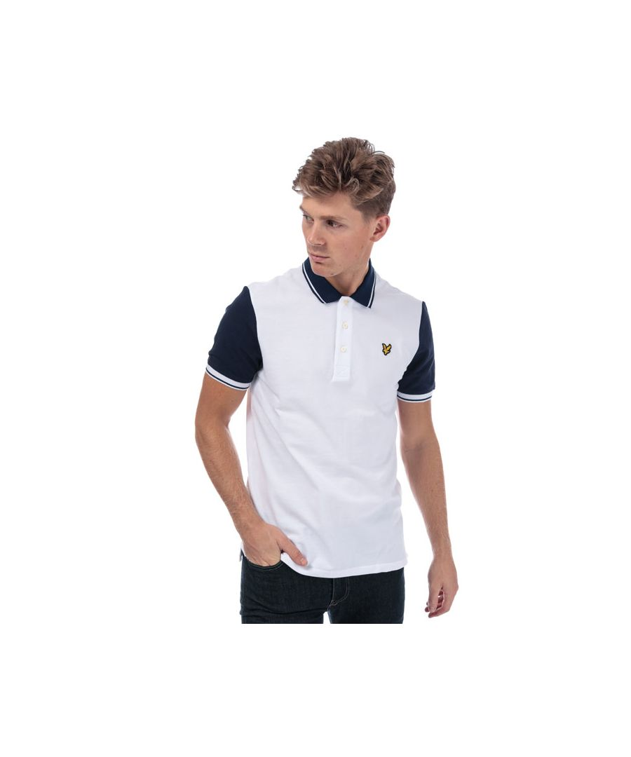 Image for Men's Lyle And Scott Tipped Polo Shirt in White Navy