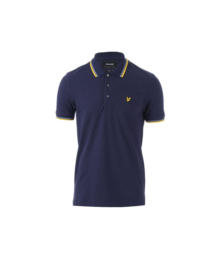 Image for Men's Lyle And Scott Tipped Slim Stretch Polo Shirt in Navy