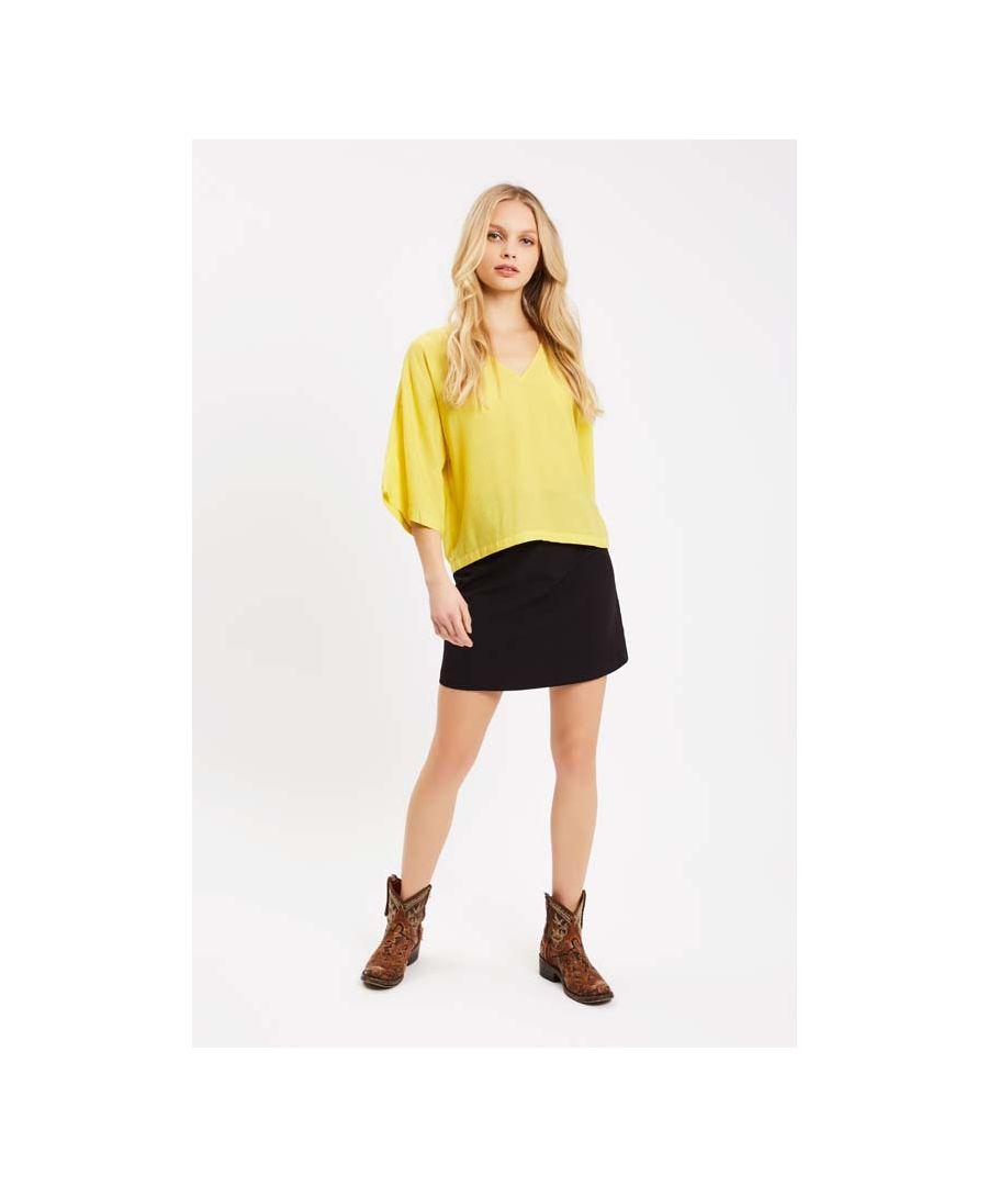 Image for Short Sleeve Whisper Blouse in Yellow