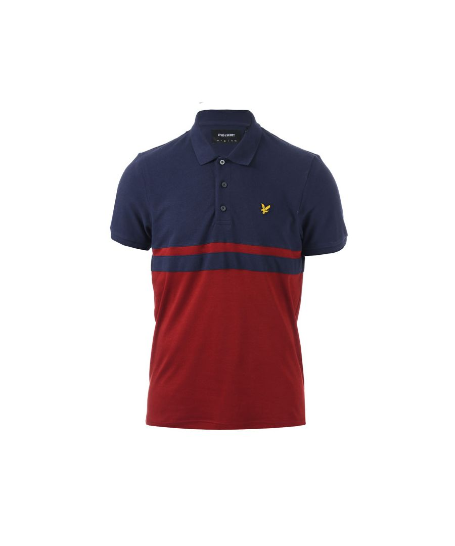 Image for Men's Lyle And Scott Panel Stripe Polo Shirt in Navy Red