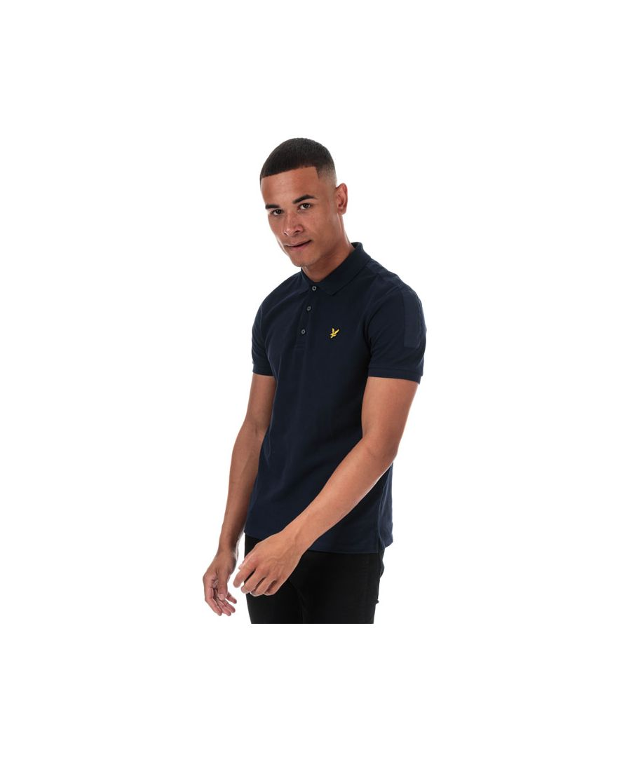 Image for Men's Lyle And Scott Fabric Mix Polo Shirt in Navy