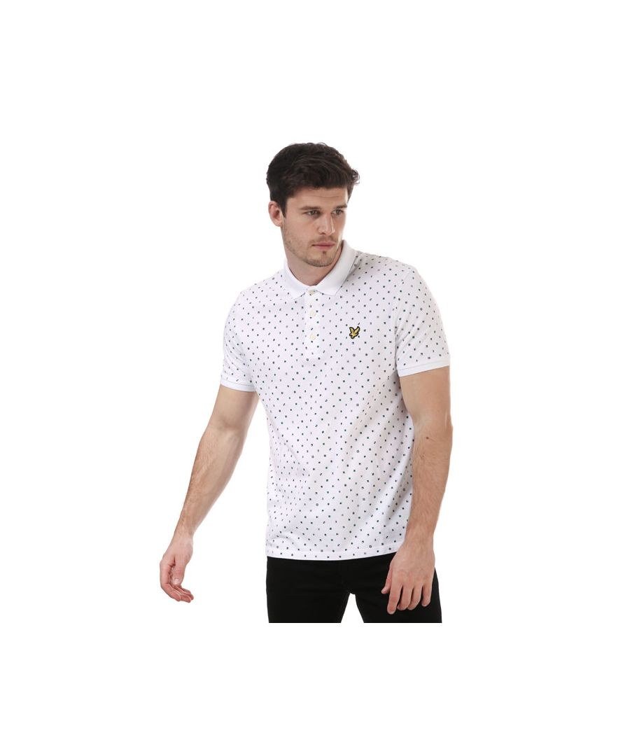 Image for Men's Lyle And Scott Flag Print Polo Shirt in White