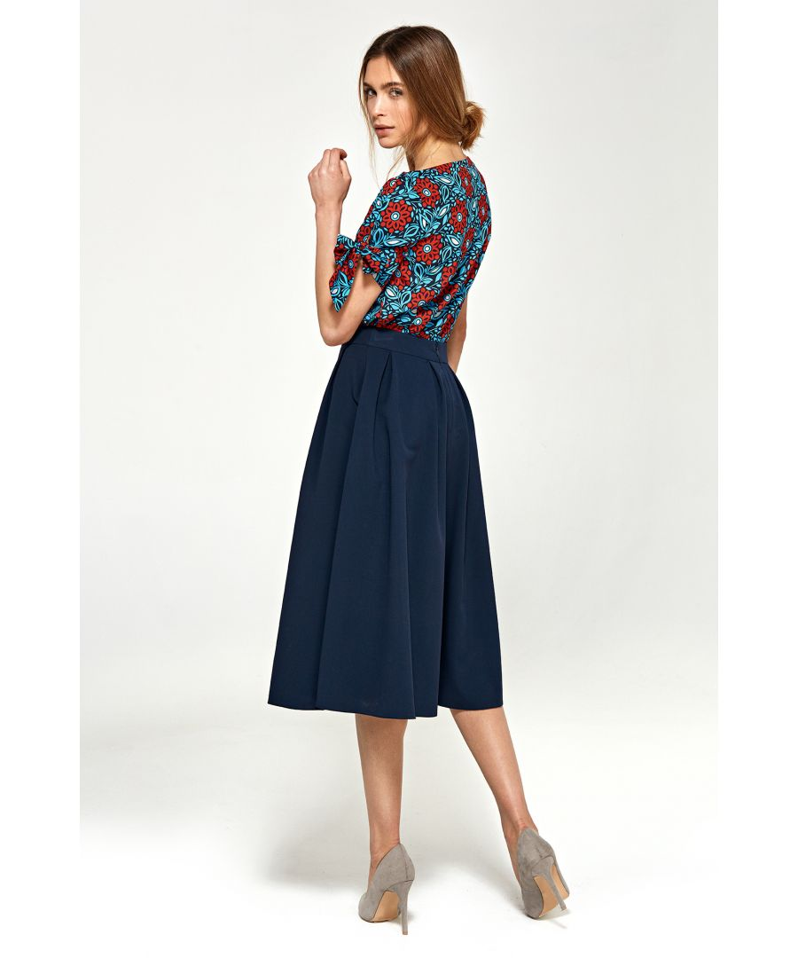 Image for Midi skirt with pleats - navy blue