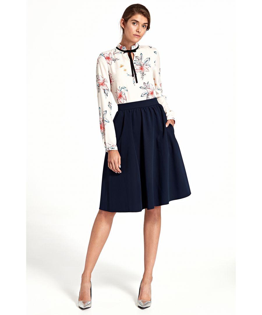 Image for Flared knee-length skirt - navy blue