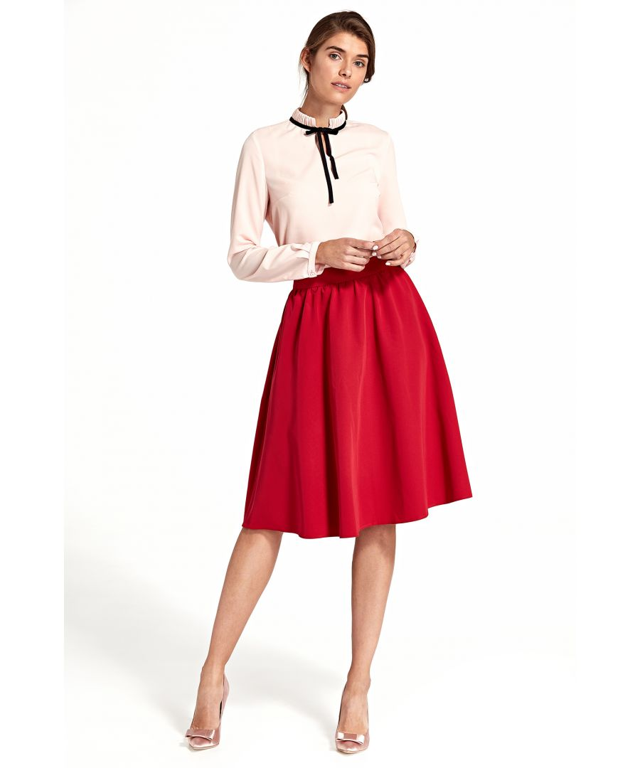 Image for Flared knee-length skirt - red