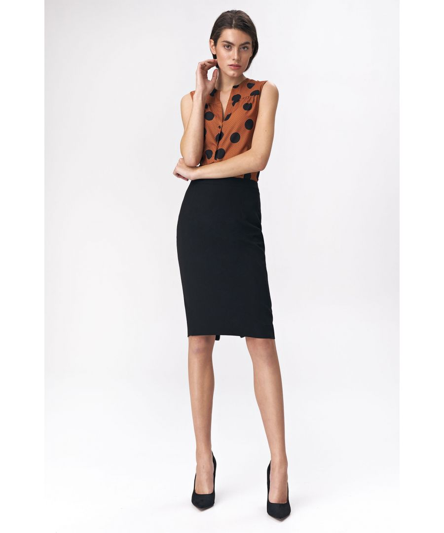 Image for Pencil skirt with decorative zipper - black