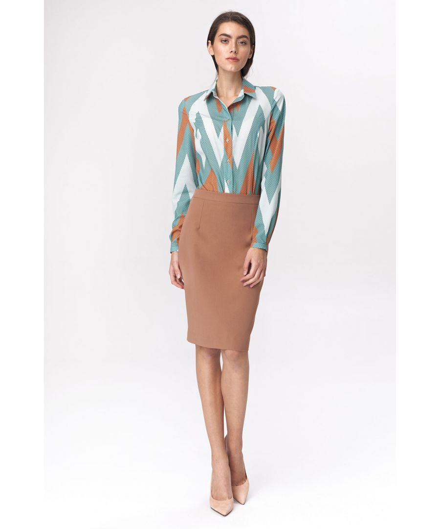 Image for Pencil skirt with decorative zipper - caramel