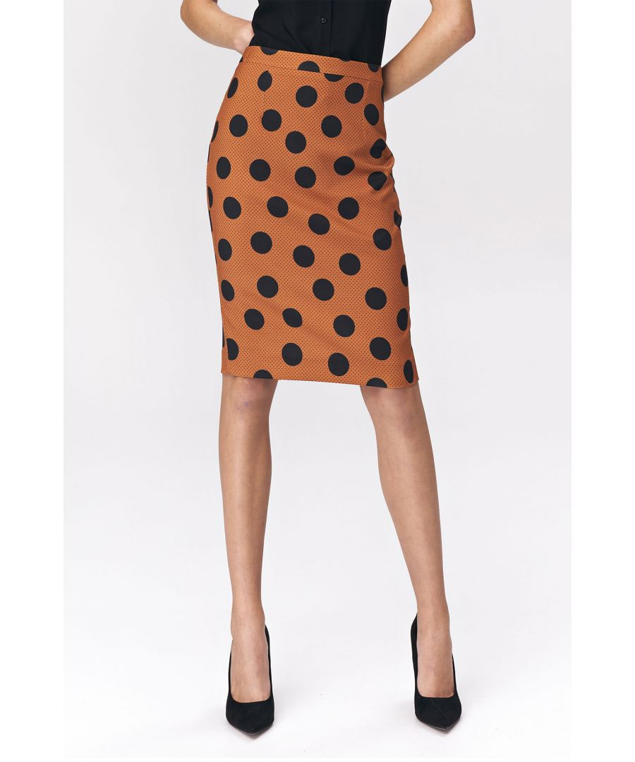 Image for Pencil skirt with peas pattern - brown