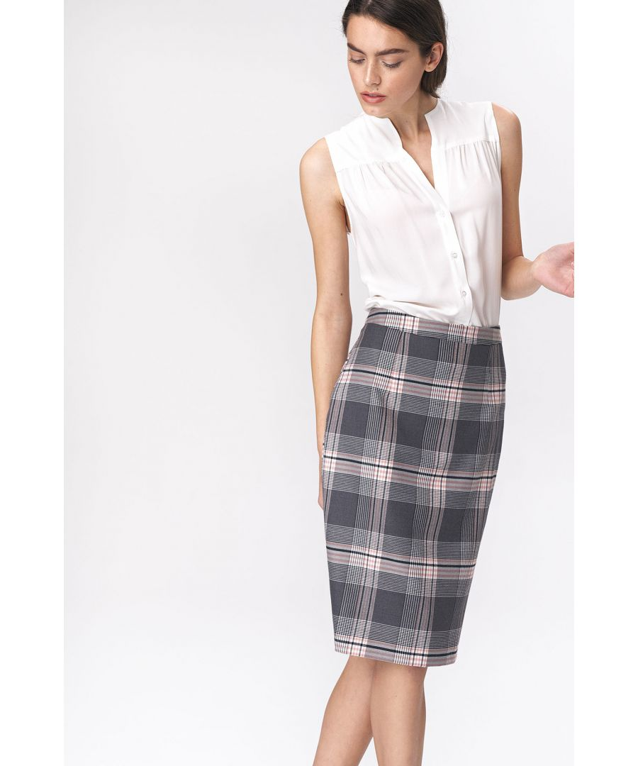 Image for Pencil checkered skirt - gray