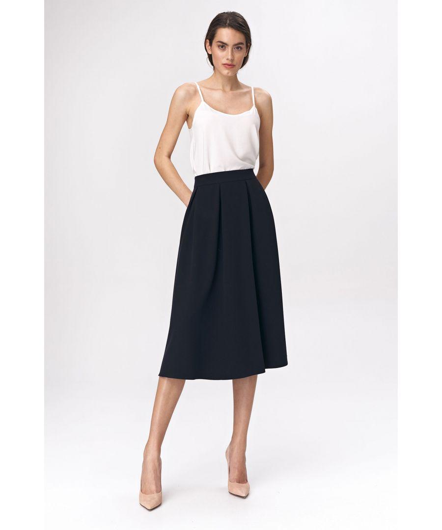 Image for Flared navy blue dress midi