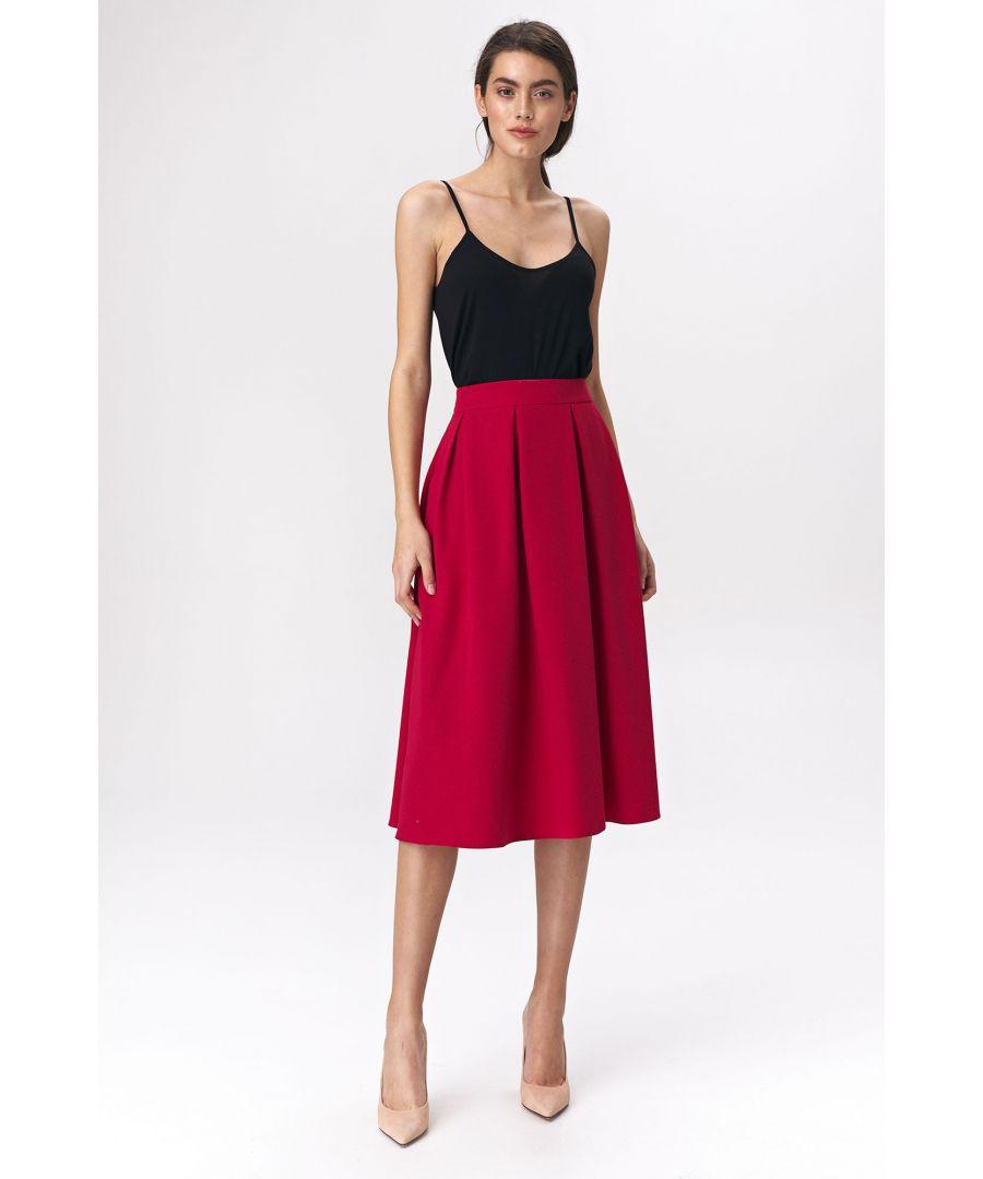 Image for Flared red skirt midi