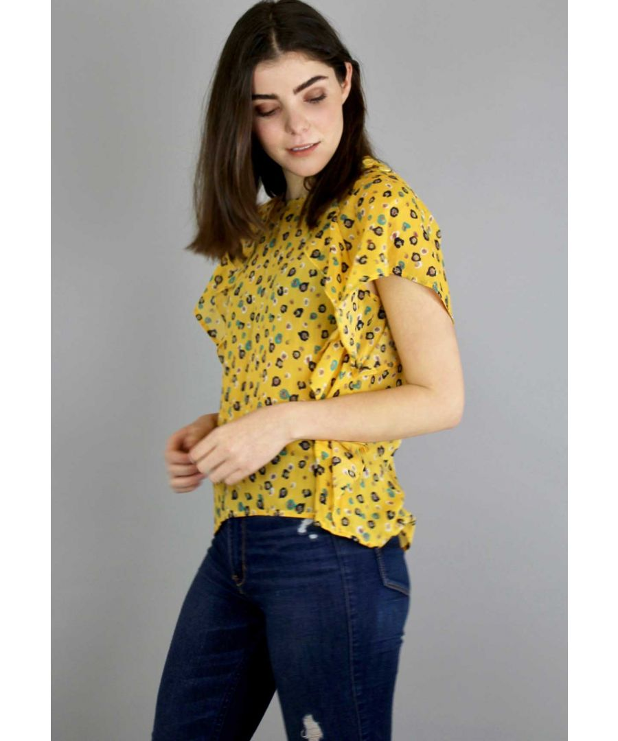 Image for Daisy Daze Short Sleeved Ruffle Blouse in Yellow