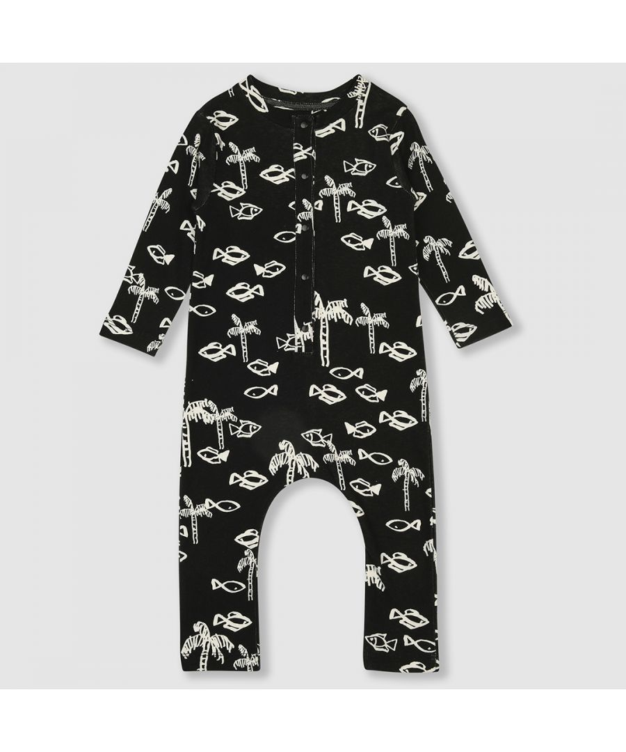 Image for Black and white fish romper