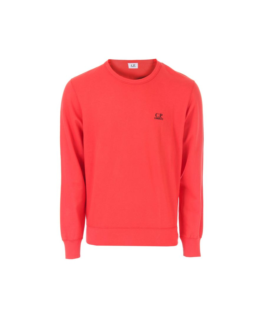 Image for Men's C.P. Company Diagonal Raised Fleece Crew Sweatshirt in Red