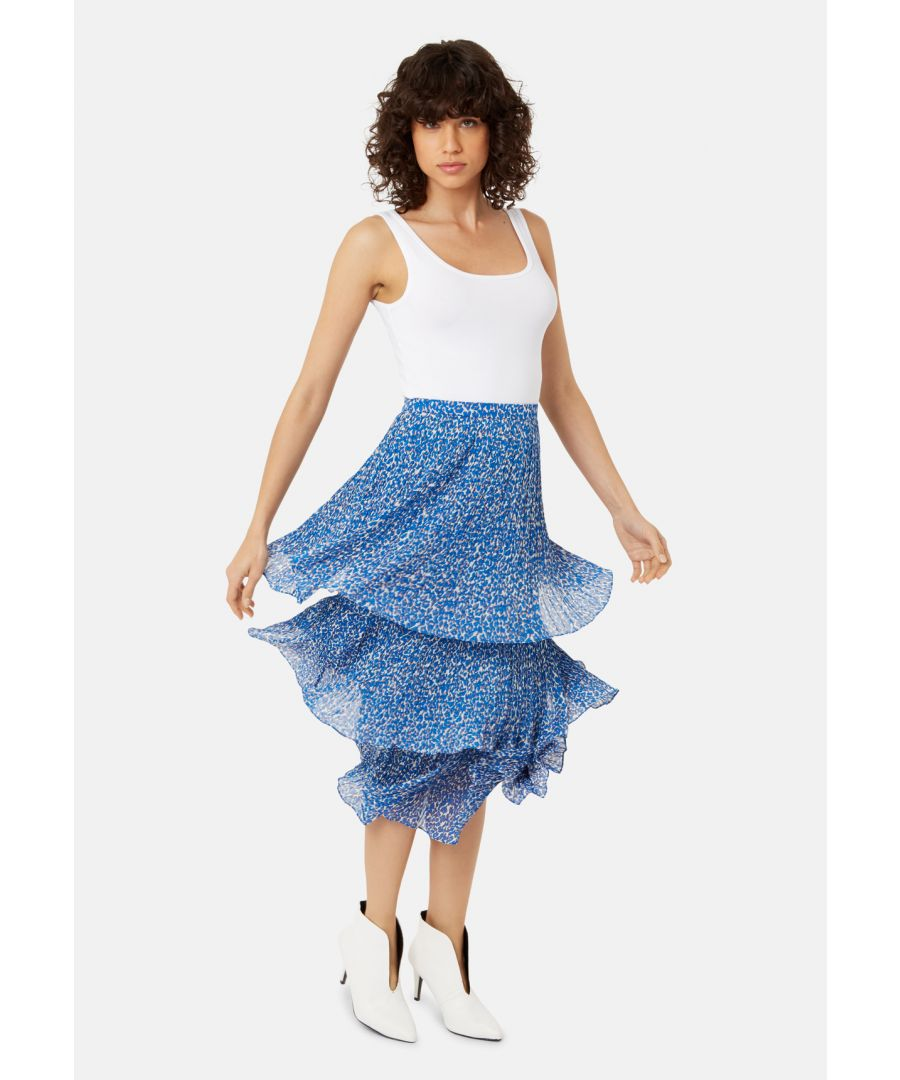 Image for Maxi Rara Tiered Skirt in Blue Animal Print