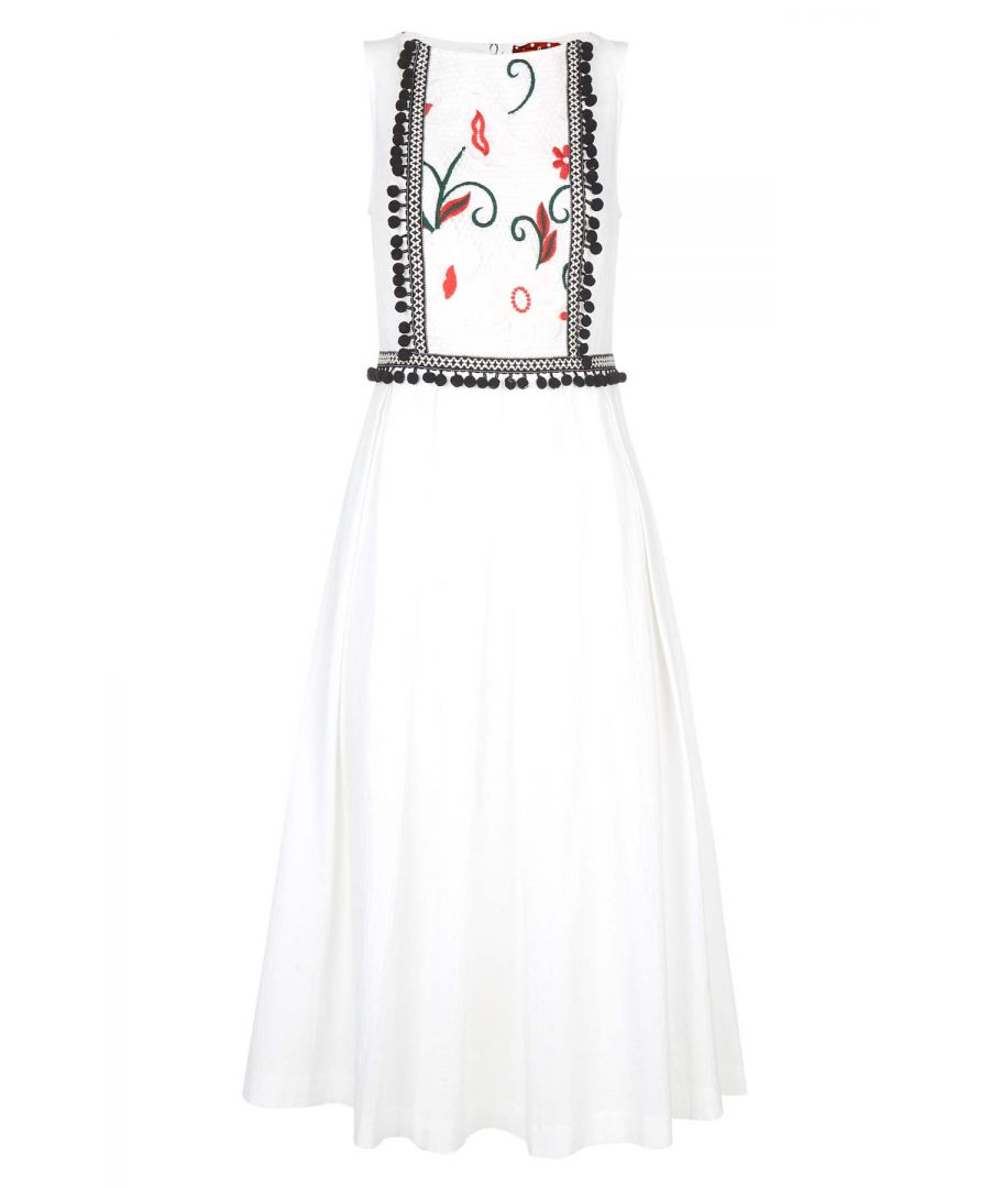 Image for Embroidery Panel Midi Dress in White