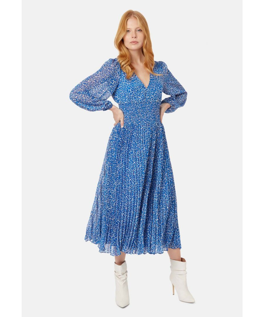 Image for Aurora Animal Printed Pleated Midi Dress in Blue