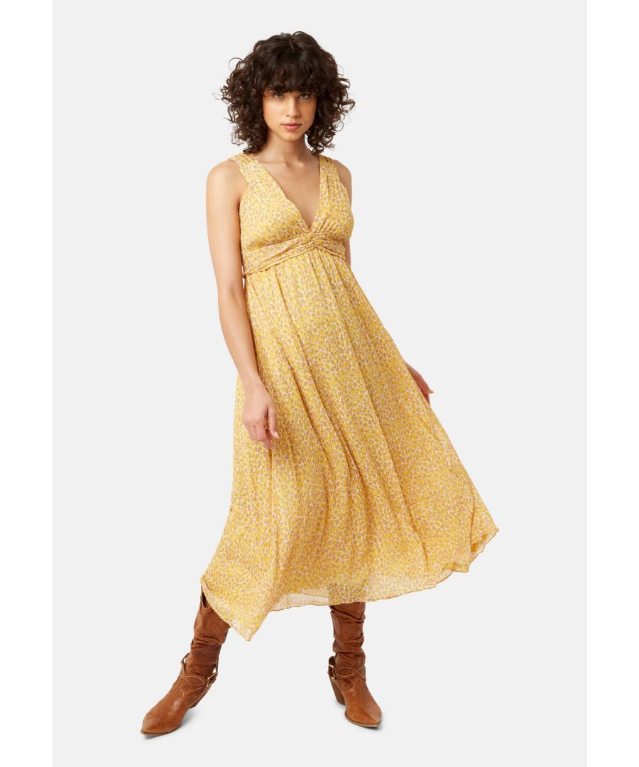 Image for Sleeveless Summer Dreams Maxi Dress in Yellow Animal Print