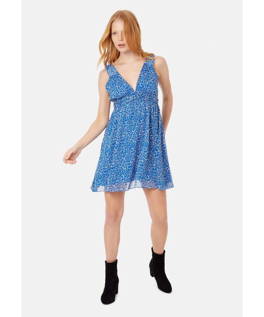 Image for Sleeveless V-Neck Mini Dress in Blue Animal Print