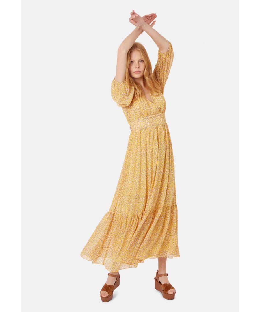 Image for Silent Breath Animal Print Maxi Dress in Yellow
